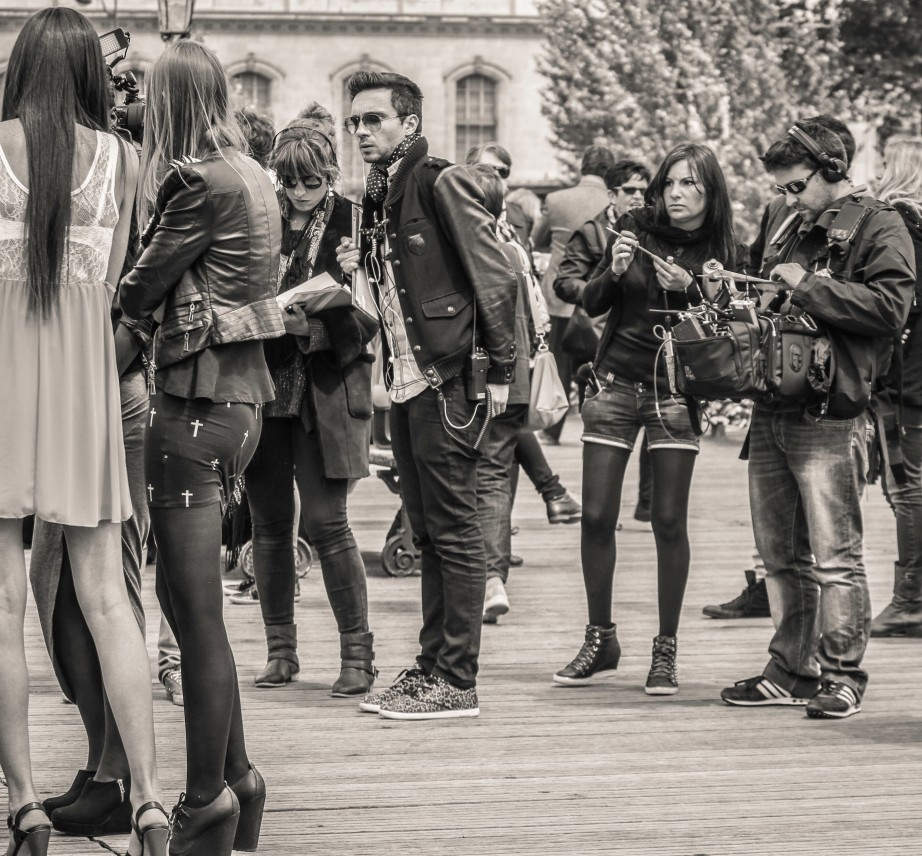 Members of film crew on Pont des Arts, Paris