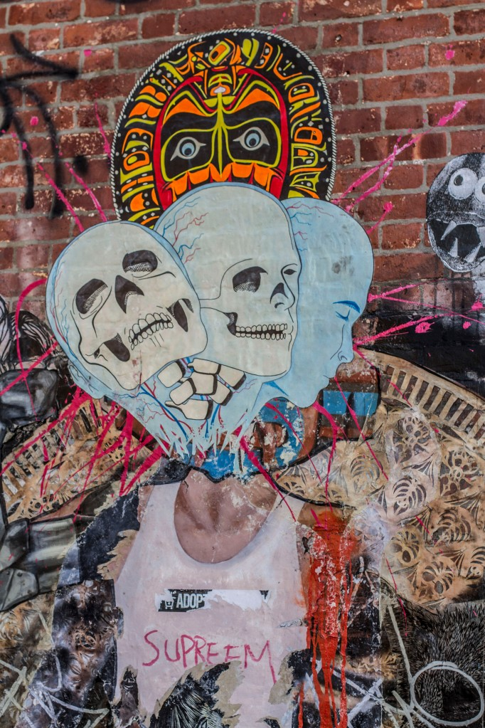 Street Art, three skulls, colour, Williamsburg