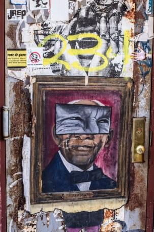 Street Art on door in Williamsburg