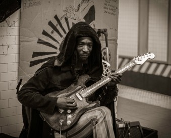 Musician at subway station