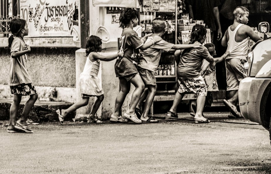 Gang of Kids on the Streets of Bangkok