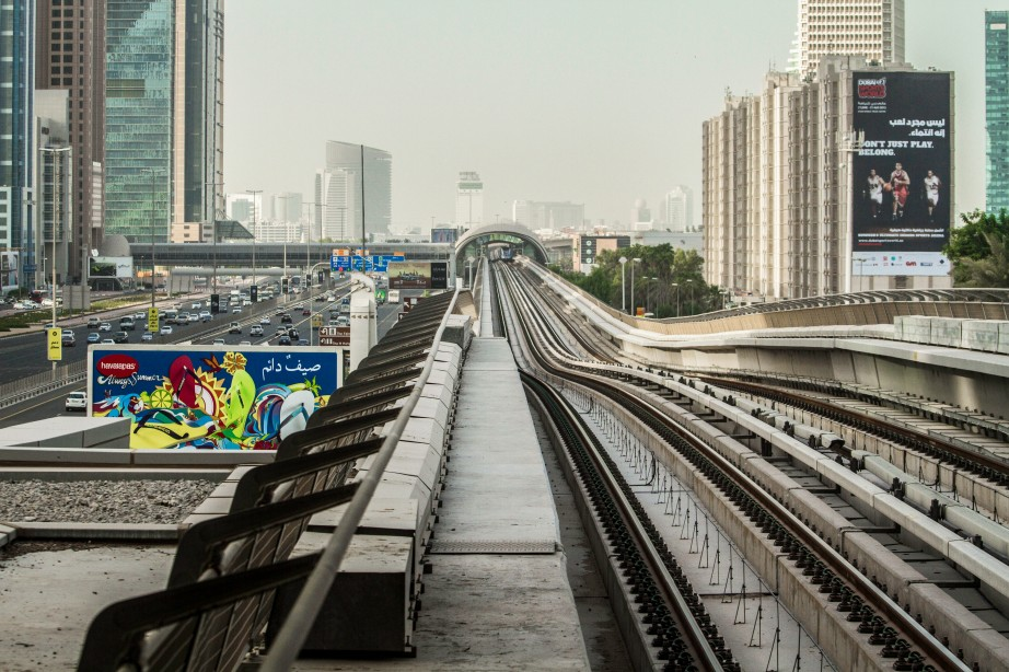 Photograph of Dubai's 'Subway' tracks on Sheikh Ziyad Street