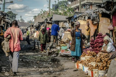 Photograph of market scene in Kenya - before sunset