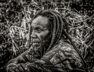 Photograph of Kenyan artist with dreadlocks