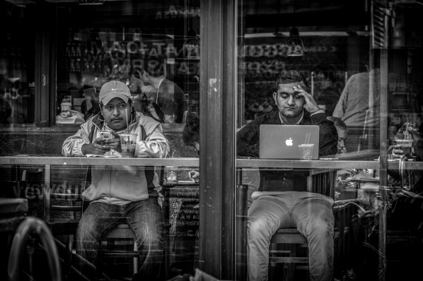 Street Photography: two men sitting in a coffeeshop, online