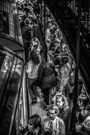 Monochrome: Passengers embarking on train at 14th Street/Union Square