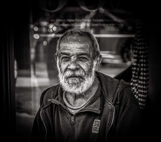 Monochrome portrait of elderly Latino man (on demand)