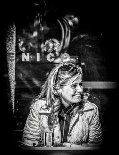 Portrait series of blond woman in a restaurant - part 2