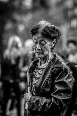 B&W Portrait of Elderly Asian Lady 1