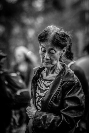B&W Portrait of Elderly Asian Lady 3