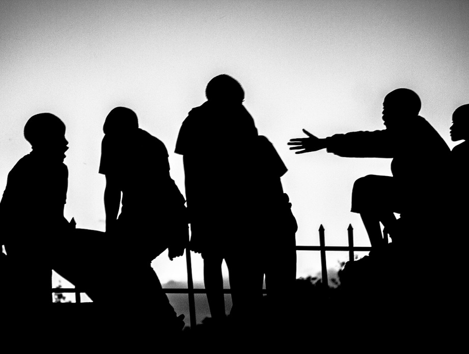 B&W silhouettes of Kenyan kids