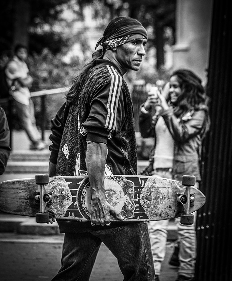 B&W Portrait of a Skateboarder - Manhattan