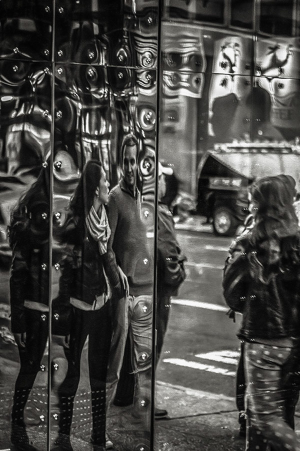 Reflections in B&W, people, urban