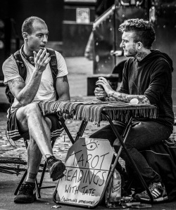 Monochrome Street Shot: Tarot Reader and Client at Union Square - Manhattan
