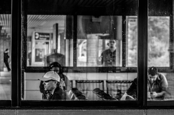 B&W Street Shot: Waiting for the Train