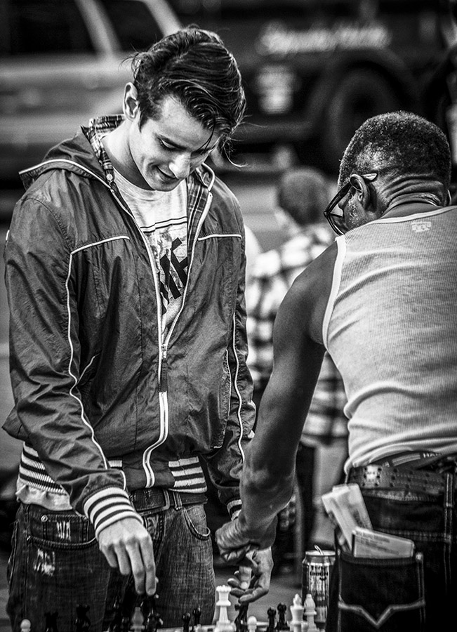 Monochrome streetshot of chessplayers