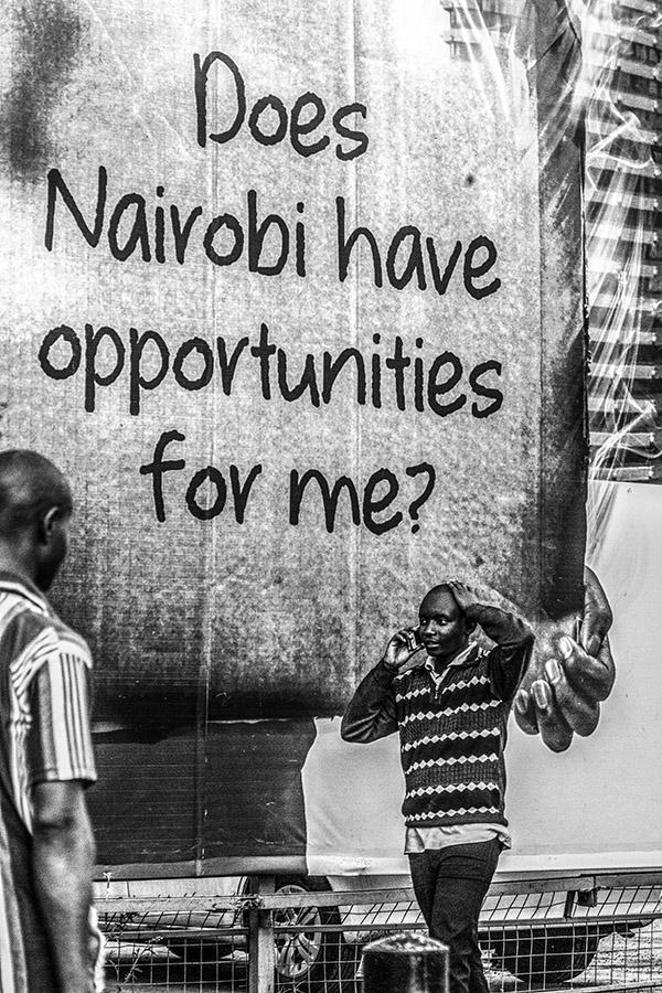 B&W Shot of Nairobi Street Scene