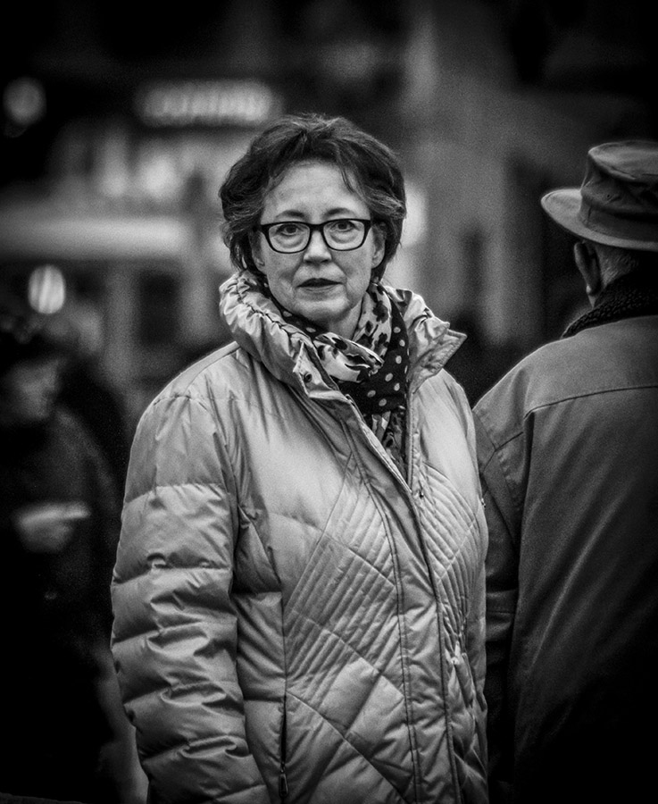 B&W Shot of Woman with Glasses