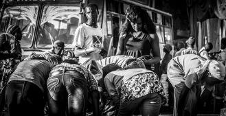 Monochrome street scene in Nairobi