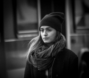 B&W Street Shot of Girl with Hat