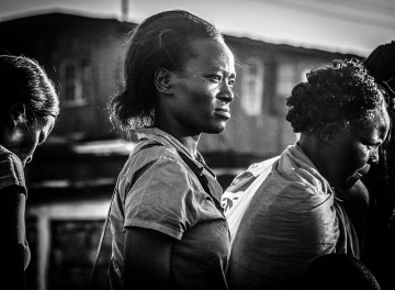 B&W street shot of Kenyan women